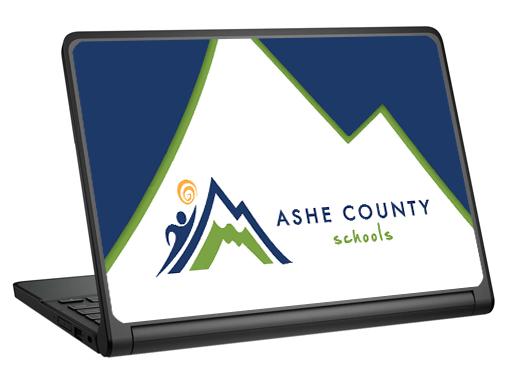 AsheCountySchools_DellChromebook11-3120_Mockup_VinylSkin School Branding